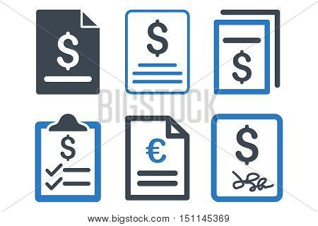 Invoice glyph icons. Icon style is bicolor smooth blue flat symbols with rounded angles on a white background.