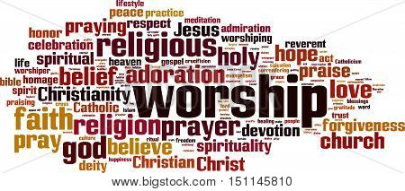Worship word cloud concept. Vector illustration on white