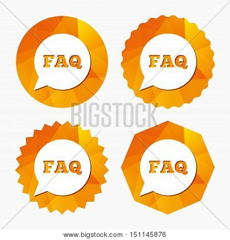 FAQ information sign icon. Help speech bubble symbol. Triangular low poly buttons with flat icon. Vector