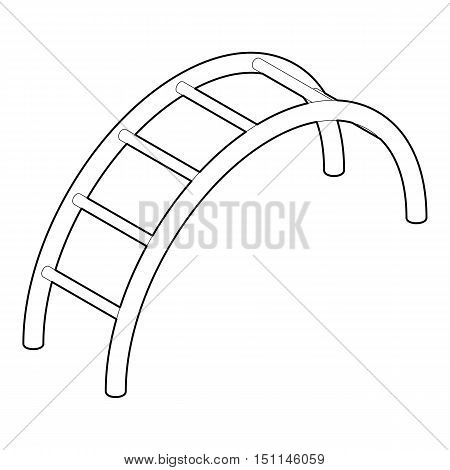 Climbing stairs icon. Outline illustration of climbing stairs vector icon for web