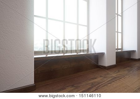 Modern unfurnished interior with wooden floor and windows with city view. Side view 3D Rendering