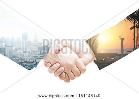 Businesspeople shaking hands on abstract light background. Double exposure