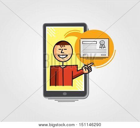 Virtual teacher in the cell phone screen pointing to a certificate