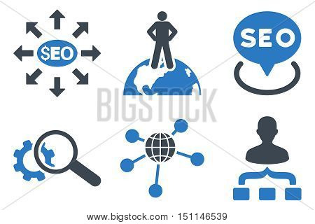 Seo Marketing glyph icons. Icon style is bicolor smooth blue flat symbols with rounded angles on a white background.
