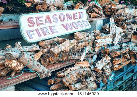 Seasoned Pile of Split Wood Logs for Fire for Sale