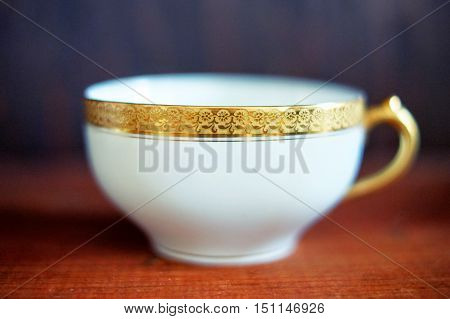Gold Trim closeup: Vintage French Tea Cup