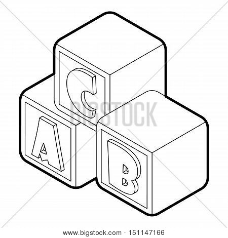 Alphabet cubes with letters A, B, C icon. Outline illustration of alphabet cubes vector icon for web