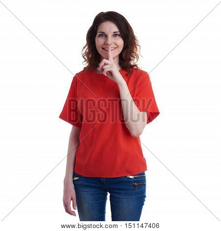 Smiling young woman in casual clothes over white isolated background with finger over mouth, happy people, silence concept