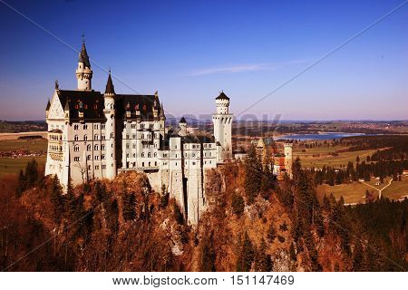 View of Neuschwanstein castle in Bavarian, Germany
