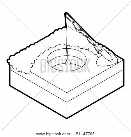 Hole for ice fishing icon. Outline illustration of hole for ice fishing vector icon for web
