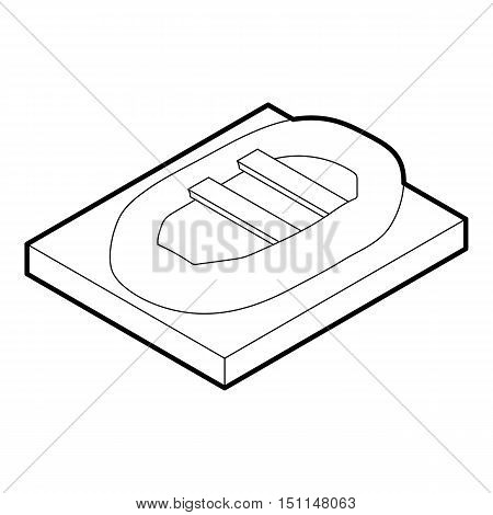 Inflatable boat icon. Outline illustration of inflatable boat vector icon for web