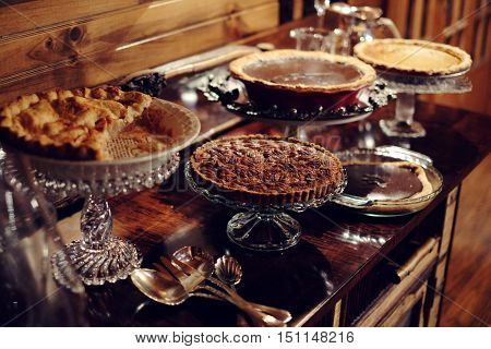 Thanksgiving home made pie assortment on table