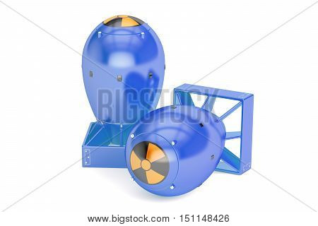 Atomic bombs 3D rendering isolated on white background