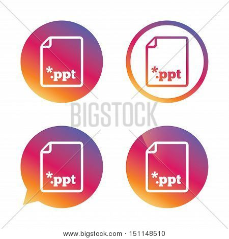 File presentation icon. Download PPT button. PPT file extension symbol. Gradient buttons with flat icon. Speech bubble sign. Vector
