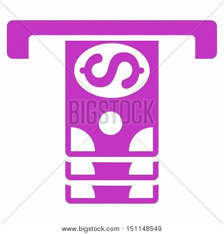 Banknotes Withdraw icon. Glyph style is flat iconic symbol with rounded angles violet color white background.