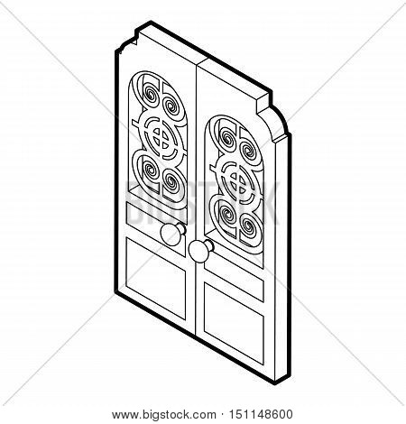 Double doors icon. Outline illustration of double doors vector icon for web