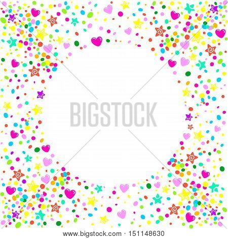 Romantic party card background with stars and colorful hearts around a circular area to place text