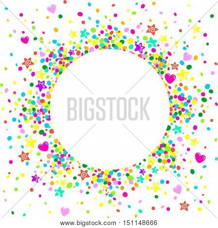 Party card background with stars and colorful hearts around a circular area to place text