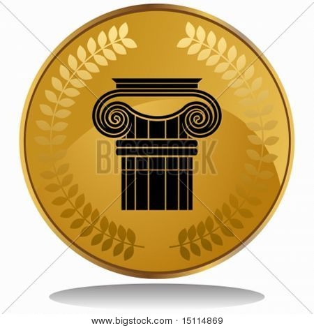 ionic greek column coin