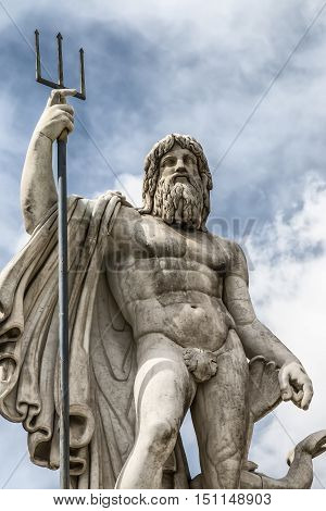 Details of the statue of Neptune in Piazza del Popolo Rome Italy