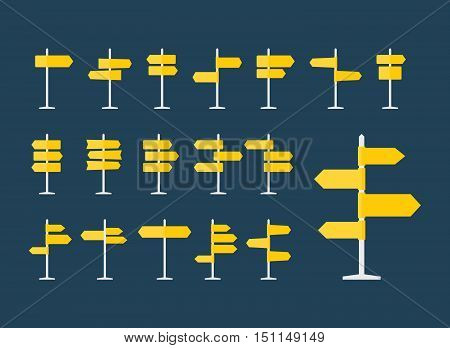 Set of 18 road signs and pointers flat icons. Signpost on pillar in yellow color. Blank template with empty space for navigational or guide text. Clean vector eps8 illustration.