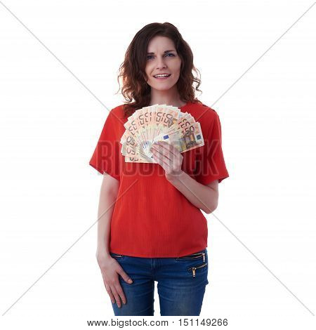 Smiling young woman in casual clothes over white isolated background with fifty euro banknotes in hands, business, money, wealth , happy people concept