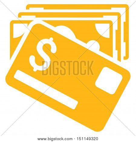 Banknotes and Card icon. Glyph style is flat iconic symbol with rounded angles, yellow color, white background.
