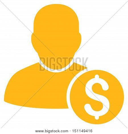 Businessman icon. Glyph style is flat iconic symbol with rounded angles, yellow color, white background.