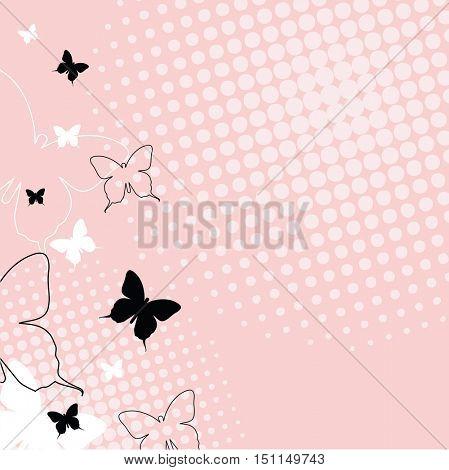 Butterflies - background template with copy space. For presentations, web backgrounds, covers, cards, greeting, baby shower...