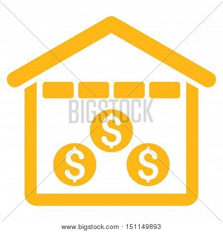 Money Depository icon. Glyph style is flat iconic symbol with rounded angles, yellow color, white background.
