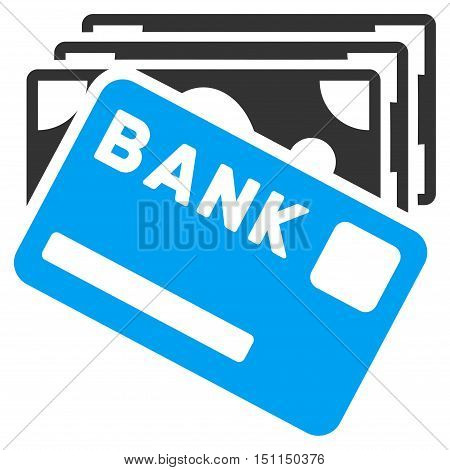 Credit Money icon. Glyph style is bicolor flat iconic symbol with rounded angles, blue and gray colors, white background.