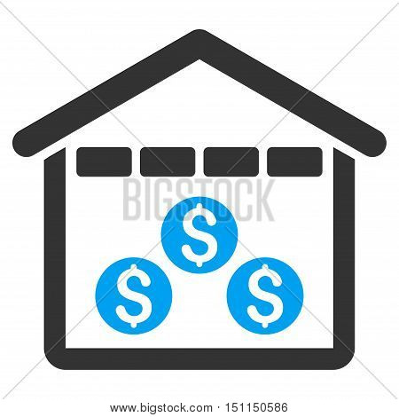 Money Depository icon. Glyph style is bicolor flat iconic symbol with rounded angles blue and gray colors white background.