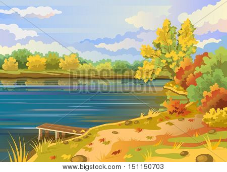 Autumn landscape outdoors river shore. Bridge pier on the background of the pond. Cloudy sky. Colorful trees and shrubs with deciduous leaves. Stock vector illustration.