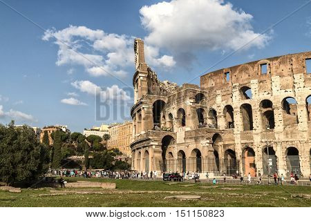 Rome Italy - October 11 2014: Part of the Flavian Amphitheatre known as the Coliseum. it is one of the main tourist attractions of the city of Rome and is visited by many tourists