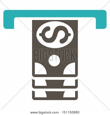 Banknotes Withdraw icon. Glyph style is bicolor flat iconic symbol with rounded angles, grey and cyan colors, white background.
