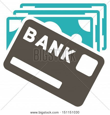 Credit Money icon. Glyph style is bicolor flat iconic symbol with rounded angles, grey and cyan colors, white background.