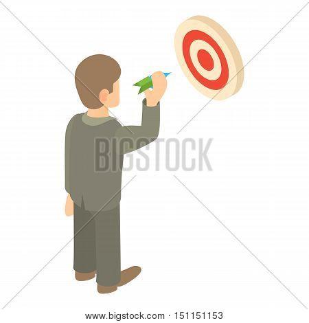 Businessman aiming at target icon. Cartoon illustration of businessman and target vector icon for web