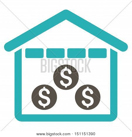 Money Depository icon. Glyph style is bicolor flat iconic symbol with rounded angles, grey and cyan colors, white background.