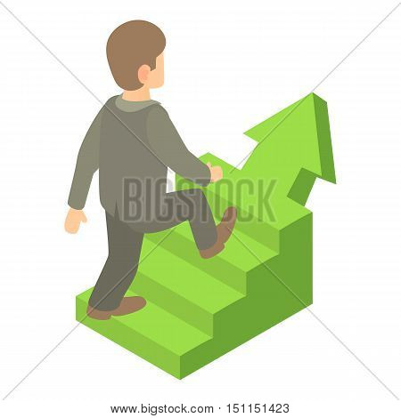 Businessman running up career ladder icon. Cartoon illustration of businessman and career ladder vector icon for web