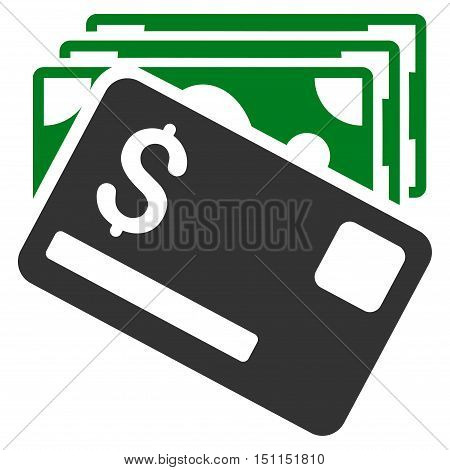 Banknotes and Card icon. Glyph style is bicolor flat iconic symbol with rounded angles, green and gray colors, white background.