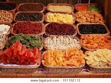 Assorted delicious turkish delight sweets in tidy