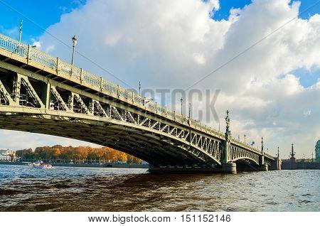 Trinity Bridge - bascule bridge across the Neva in Saint Petersburg Russia. It was the third permanent bridge in Saint Petersburg across the Neva built between 1897 and 1903