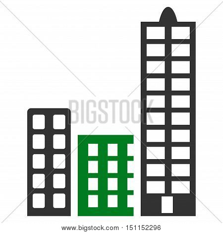 City icon. Glyph style is bicolor flat iconic symbol with rounded angles, green and gray colors, white background.