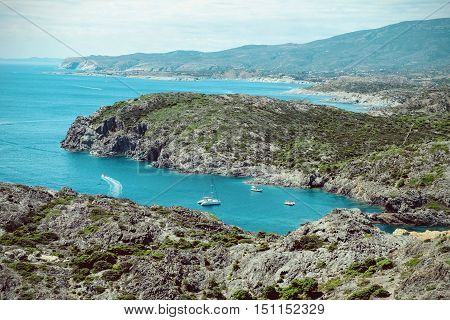 Landscape view of Cadaques on Mediterranean seaside Costa Brava Catalonia Spain