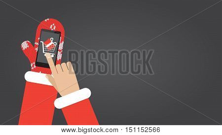 Santa's hand in red mittens click on smartphone with shopping app on screen. Flat vector illustration christmas card with copy space
