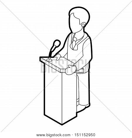 Orator speaking from tribune. Outline illustration of orator speaking from tribune vector icon for web