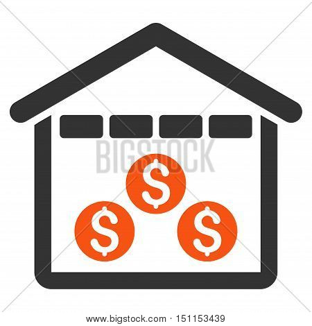 Money Depository icon. Glyph style is bicolor flat iconic symbol with rounded angles, orange and gray colors, white background.