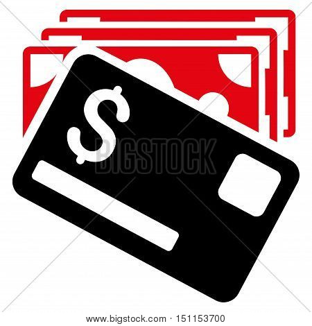 Banknotes and Card icon. Glyph style is bicolor flat iconic symbol with rounded angles, intensive red and black colors, white background.