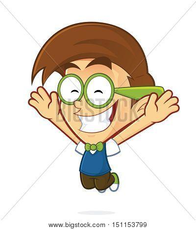 Clipart picture of a nerd geek cartoon character jump