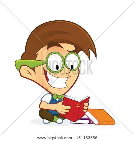 Clipart picture of a nerd geek cartoon character reading book